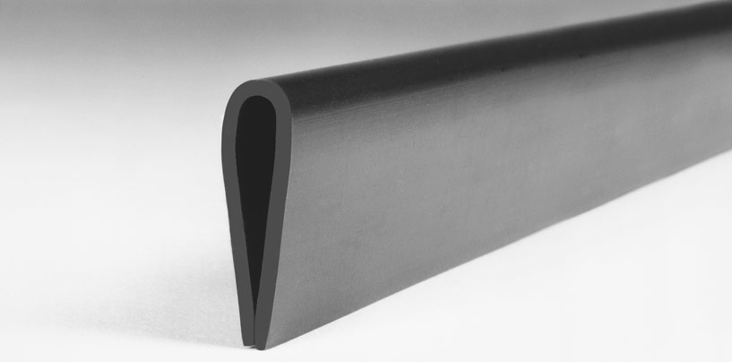 Close up of Grey Nyla-Glide GR 1″ profile for protecting metal conveyor rails