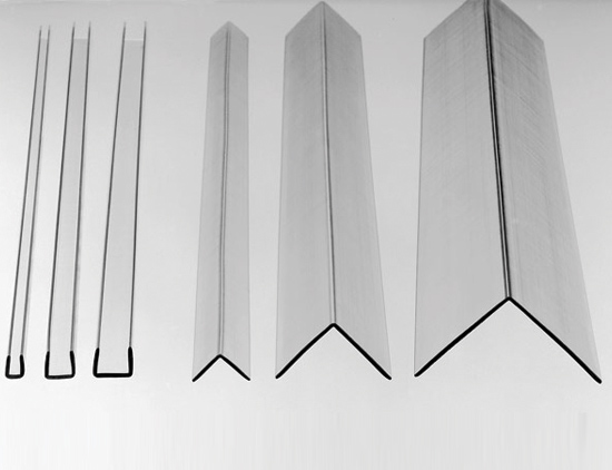 6 polycarbonate stock angles and channels resting on a white background