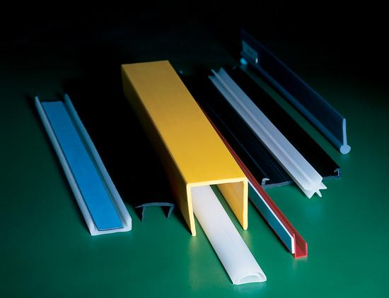 Stack of multicolored Polyethylene, Polypropylene Custom-Extruded Plastic Profiles