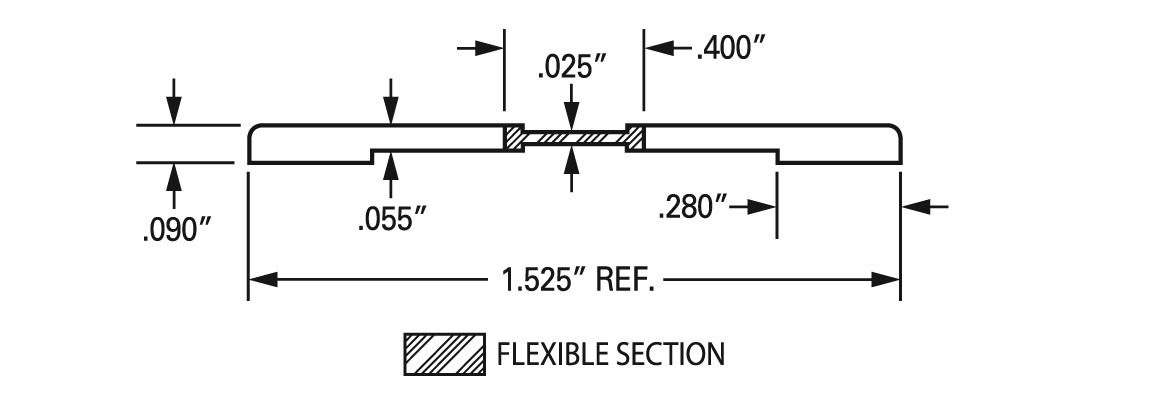 """J-574 1.5"""" DR Flat continuous, coextruded thermoplastic hinge specs"""